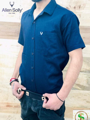Navy Blue Color Premium Cotton Half Sleeve Shirt -KG-120220-AS-PL-12