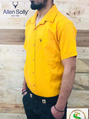 Yellow Color Premium Cotton Half Sleeve Shirt -KG-120220-AS-PL-1