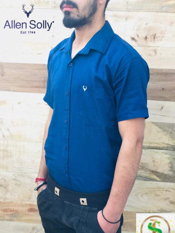Blue  Color Premium Cotton Half Sleeve Shirt -KG-120220-AS-PL-2