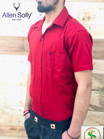 Maroon Color Premium Cotton Half Sleeve Shirt -KG-120220-AS-PL-3