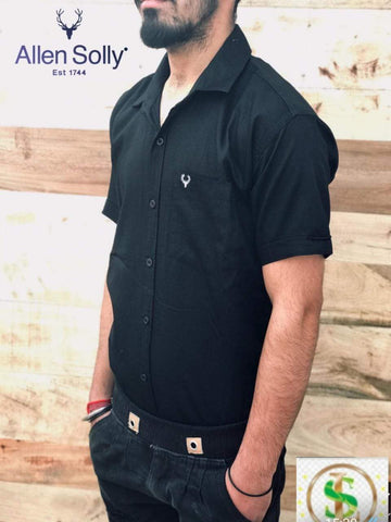 Black  Color Premium Cotton Half Sleeve Shirt -KG-120220-AS-PL-5