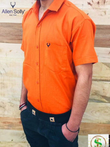 Orange Color Premium Cotton Half Sleeve Shirt -KG-120220-AS-PL-6