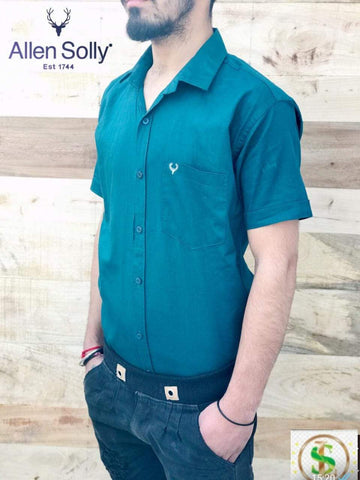 Teal Color Color Premium Cotton Half Sleeve Shirt -KG-120220-AS-PL-7