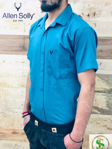 Sea Green Color Premium Cotton Half Sleeve Shirt -KG-120220-AS-PL-8