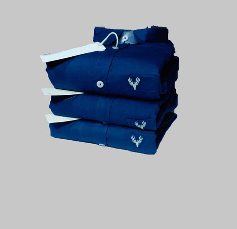 Navy Color Premium Cotton Men's Plain Shirt - KG-211019-AS-PL-8