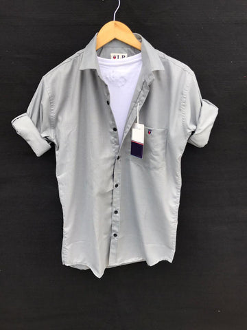 Grey Color Premium Cotton Men's Plain Shirt - KG-220120-LP-PL-10