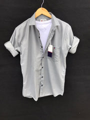 Buy Grey Color Premium Cotton Men's Plain Shirt