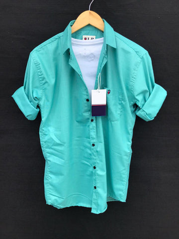 Turquoise Color Premium Cotton Men's Plain Shirt - KG-220120-LP-PL-11