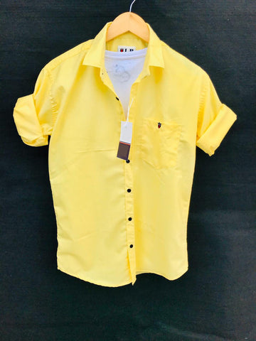 Yellow Color Premium Cotton Men's Plain Shirt - KG-220120-LP-PL-13