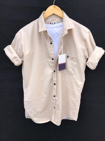 Beige Color Premium Cotton Men's Plain Shirt - KG-220120-LP-PL-14