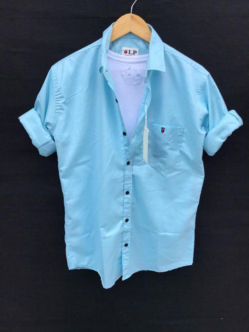 Sky Blue Color Premium Cotton Men's Plain Shirt - KG-220120-LP-PL-15