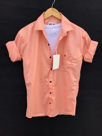 Peach Color Premium Cotton Men's Plain Shirt - KG-220120-LP-PL-16