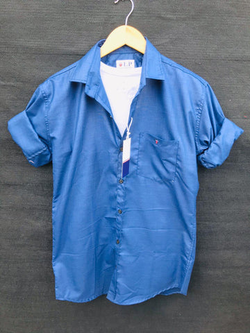 Blue Color Premium Cotton Men's Plain Shirt - KG-220120-LP-PL-17
