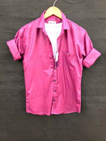 Pink Color Premium Cotton Men's Plain Shirt - KG-220120-LP-PL-18