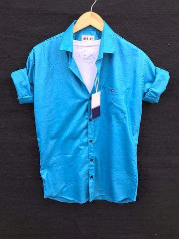Blue Color Premium Cotton Men's Plain Shirt - KG-220120-LP-PL-19