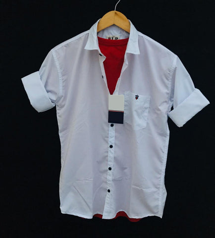 White Color Premium Cotton Men's Plain Shirt - KG-220120-LP-PL-1