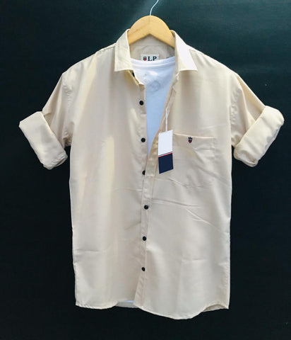 Beige Color Premium Cotton Men's Plain Shirt - KG-220120-LP-PL-2