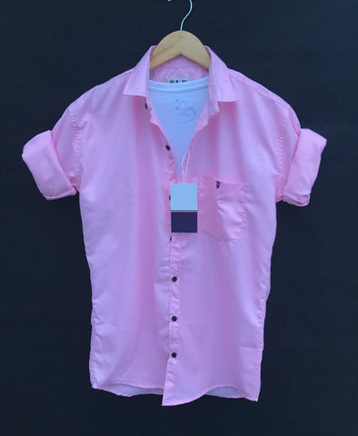 Pink Color Premium Cotton Men's Plain Shirt - KG-220120-LP-PL-3