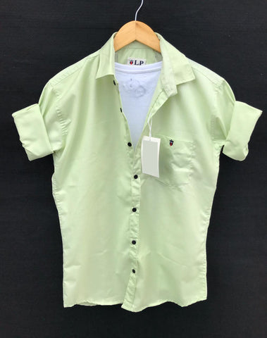 Parrot Green Color Premium Cotton Men's Plain Shirt - KG-220120-LP-PL-5