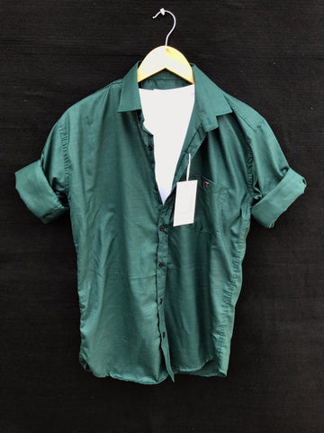 Green Color Premium Cotton Men's Plain Shirt - KG-220120-LP-PL-6