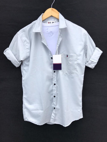 White Color Premium Cotton Men's Plain Shirt - KG-220120-LP-PL-7