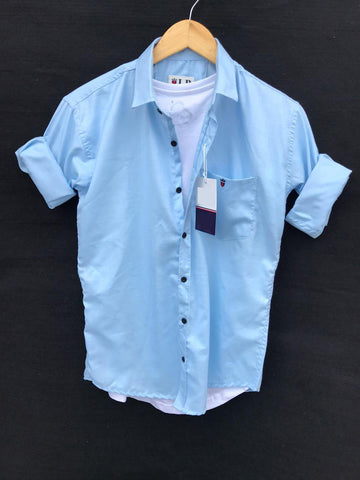 Light Blue Color Premium Cotton Men's Plain Shirt - KG-220120-LP-PL-8