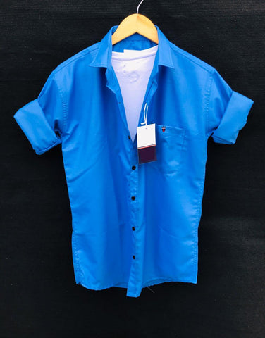 Sky Blue Color Premium Cotton Men's Plain Shirt - KG-220120-LP-PL-9