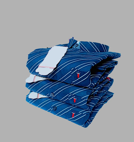 Blue Color Premium Cotton Men's Striped Shirt - KG-251019-LP-ST-1