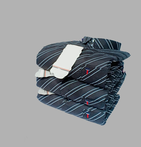 Black Color Premium Cotton Men's Striped Shirt - KG-251019-LP-ST-3