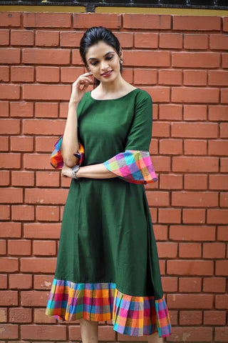 Green Color Khadi Cotton Semi Stitched Dress - KGF-Green