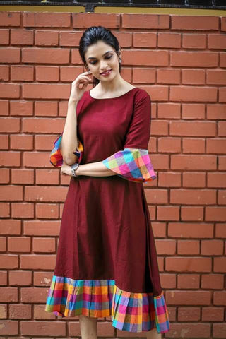 Maroon Color Khadi Cotton Semi Stitched Dress - KGF-Maroon