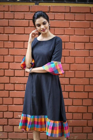 Navy Blue Color Khadi Cotton Semi Stitched Dress - KGF-NBlue
