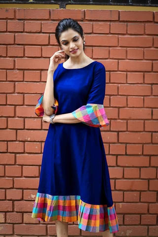 Royal Blue Color Khadi Cotton Semi Stitched Dress - KGF-RBlue