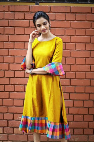 Yellow Color Khadi Cotton Semi Stitched Dress - KGF-Yellow