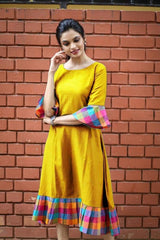 Buy Yellow Color Khadi Cotton Semi Stitched Dress
