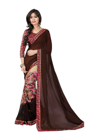 Brown Color Georgette Saree - KIRTIKA-1240A