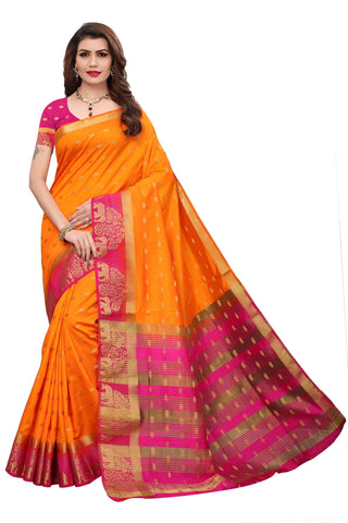 Yellow color  Tussar Silk  Saree KL-1049