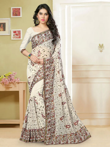 White Color Georgette Saree - KL-352