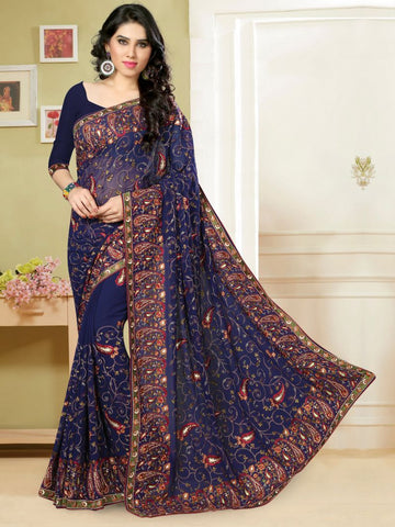 Navy Color Georgette Saree - KL-357