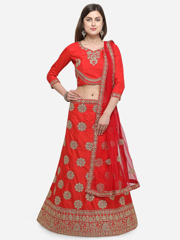 Red Color Silk Satin Women's Semi Stitched Lehenga - KLND34301