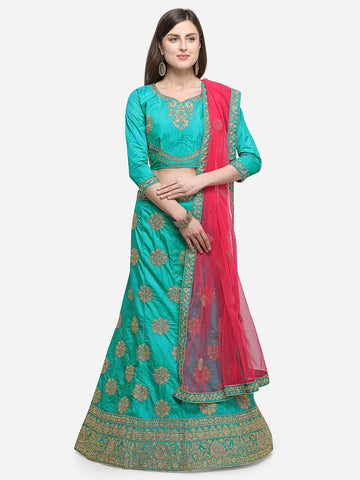 Sea Green Color Silk Satin Women's Semi Stitched Lehenga - KLND34302