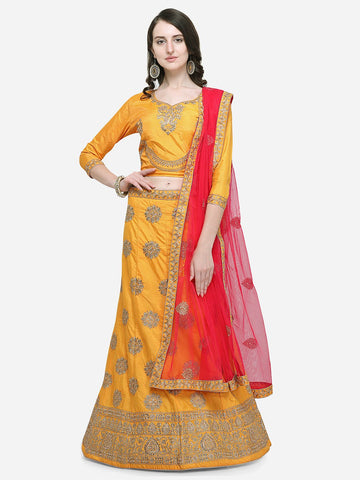 Yellow Color Silk Satin Women's Semi Stitched Lehenga - KLND34303