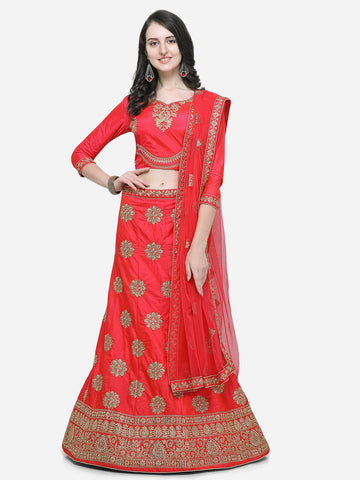 Pink Color Silk Satin Women's Semi Stitched Lehenga - KLND34304