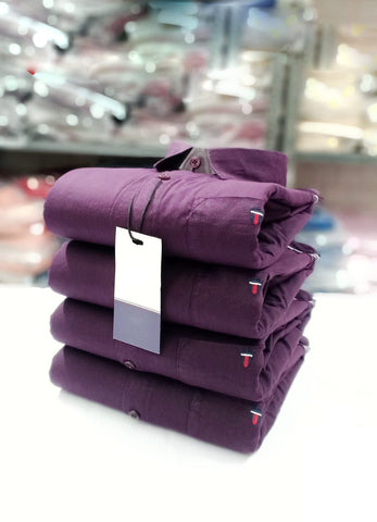 Purple Color Cotton Men's Solid Shirt - KMI-LP-PLAIN-2