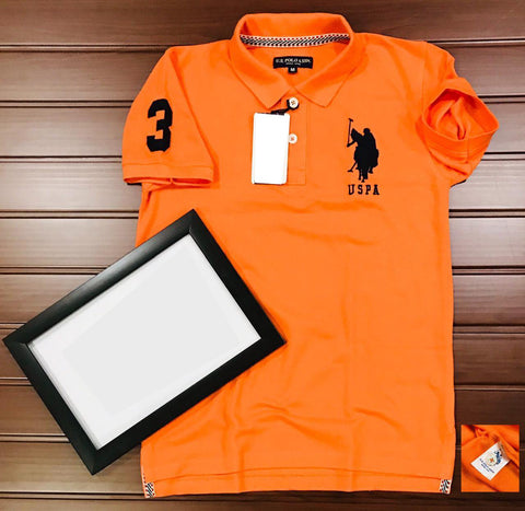 Orange Color Cotton Men's Solid Tshirt - KMI-USPA-12
