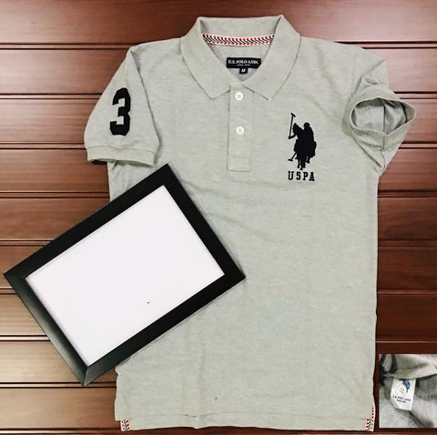 Grey Color Cotton Men's Solid Tshirt - KMI-USPA-4