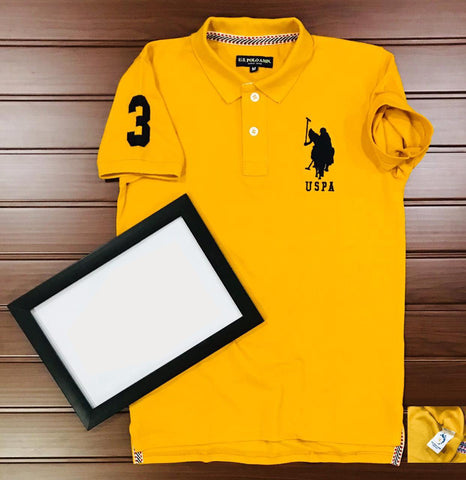 Yellow Color Cotton Men's Solid Tshirt - KMI-USPA-5