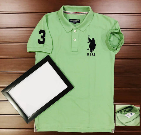 Lime Green Color Cotton Men's Solid Tshirt - KMI-USPA-6