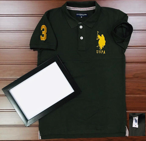 Dark Green Color Cotton Men's Solid Tshirt - KMI-USPA-7
