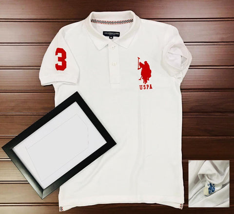 White Color Cotton Men's Solid Tshirt - KMI-USPA-8